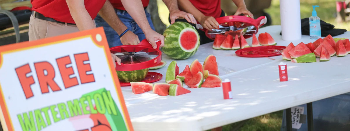 ts bank employees cutting watermelon at the watermelon