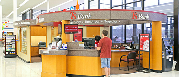 inside of the hy-vee council bluffs location of ts bank