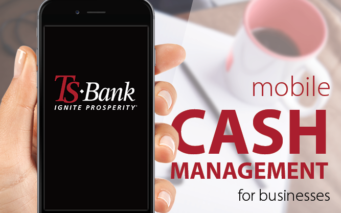 cell phone with ts bank cash management app featured
